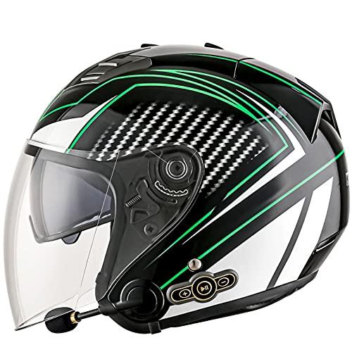 Casco Moto Jet Hombre con Un Bluetooth Integrado MicróFono Incorporado Visera Doble ECE/Dot Homologado Casco Scooter Abierto para Mujer Hombre Adultos M~XXL