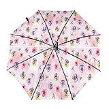 Diseño automático ligero compacto portátil del paraguas plegable de las flores púrpuras rosadas y alta resistencia al viento