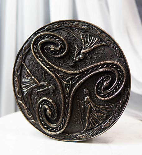 Ebros Gift Pagan Wiccan Triple Goddess Triskele Spiral Serpent in Rune Circle Wall Plaque Decor Celtic Trinity Knotwork Maiden Mother Crone Symbol of Feminism