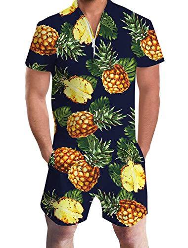 Goodstoworld Mameluco Hombre Jumpsuit 3D Gráfico Impreso Zip Up Mono Camisa de Grandad Verano Onesies M Pineapple Dark Blue