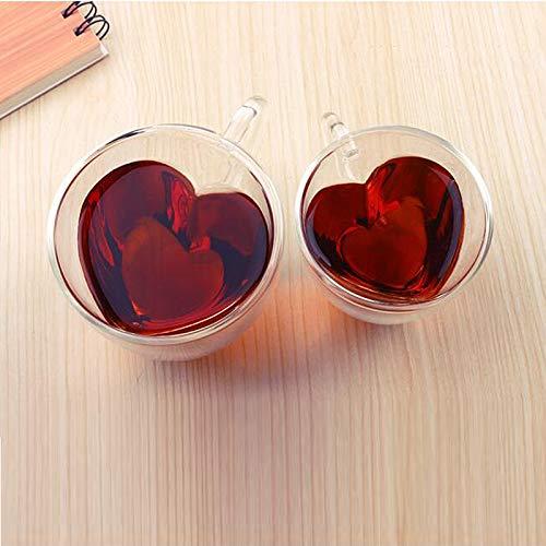 Cup dubbele wand glas bier blikjes creatieve romantische glazen lens sap glazen hart hittebestendig dag van morgen Valentijnsdag,240 ml