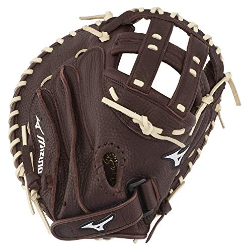 "Mizuno Franchise Fastpitch Softball Glove Series, Coffee/Silver Catchers Mitt, 34"", Left (Right Hand Throw)"