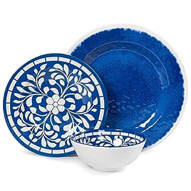 Melamine Dinnerware Set - 12 Pcs Dinner Dishes Set for Outdoor Use, Dishwasher Safe, Lightweight Unbreakable, Blue