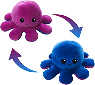 AioTio Double-sided Octopus Flip Plushie|Easy to show your mood to the parents/kids|As an interesting gift to kids| Purple...