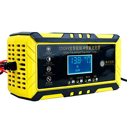 CUIJU Cargador de batería de Coche de Motocicleta 12V24V Tipo de reparación Cargador de batería de Plomo-ácido (Amarillo)