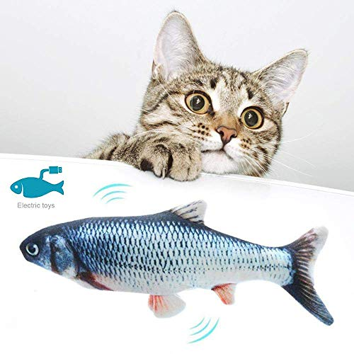 T.Face Pesce Giocattolo Elettrico per Gatto, Realistic Plush Simulation Electric Doll Fish, per Cat/Kitty/Kitten Fish Flop Cat Catnip Toys Mordere, Masticare e calciare (B)
