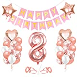 Globos de Cumpleaños 8 año, 8 Oro RosaDecoraciones, Pancarta de Feliz Cumpleaños, Decoración de Cumpleaños para 8 Niña, Globos de Confeti y Aluminio Oro Rosa, Fiesta Regalos para Niña y Mujeres y Bebe