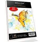 MISULOVE 6.1X8.7' Watercolor Paper Pad, Cold-Pressed, Acid-Free, Ideal for Watercolor Painting and Wet Media, Textured Paper Great and Sketchbook, Art Paper for Kid, 20 White Sheets (140lb/300gsm)