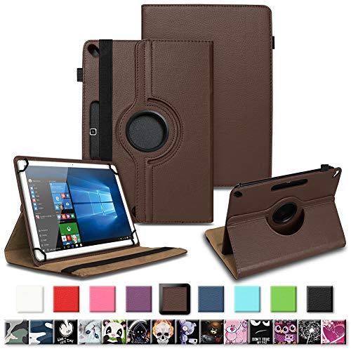 Tablet Tasche für Archos 101f 101e Neon 101b Oxygen Schutzhülle hochwertiges Kunstleder Hülle Standfunktion 360° Drehbar 10.1 Zoll Universal Case, Farben:Braun
