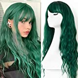 EVLYNN Wigs With Bangs Ombre Dark Green Wig Long Loose Wavy Curly Hair Synthetic Fiber Glueless Dark Root No Lace Wig For Women