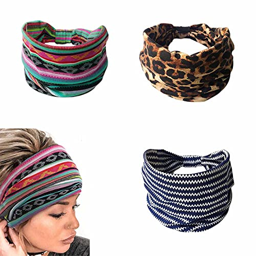 Yean - Fascia per capelli con motivo leopardato a turbante, fascia elastica per capelli a strisce, fascia per capelli per donne e ragazze, 3 pezzi