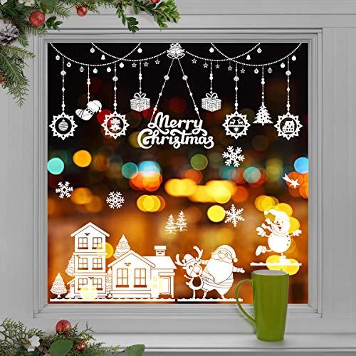 WEYON Weihnachten Fenstersticker, Wiederverwendbar Fensterbilder Selbstklebend Weihnachts Fensteraufkleber Fensterfolie Weihnachtsdekoration aus PVC für Weihnachts Fenster, Vitrinen, Glasfronten