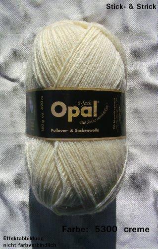 150 gr. Opal Uni Farbe 5300 natur, 6-fach, Brandneu, Sockenwolle, Strumpfwolle