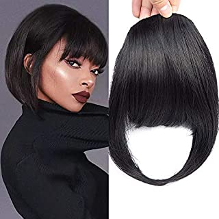 HUA MIAN LI Bob Flat Hair Bangs Heat Resistant Synthetic Fiber Straight Clip In Bangs With Fringe Fake Bangs Hair Pieces For Women (Dark Black)