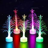 Gshy 5 Piezas Árboles de Navidad de Fibra óptica Cambio de Color Árboles de Navidad LED Luz de decoración navideña