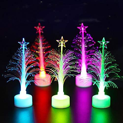 Gshy 5 Piezas Árboles de Navidad de Fibra óptica Cambio de Color...