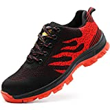 Zapatos de seguridad, ligeros, Kevlar, para hombres y mujeres, zapatos de trabajo, puntera de acero, transpirables, zapatillas de protección, color Rojo, talla 44 EU