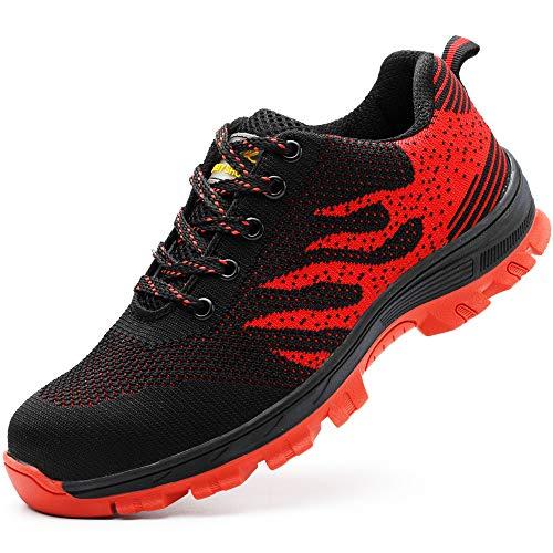 Zapatos de Seguridad para Hombre Zapatillas Zapatos de Mujer Seguridad de Acero Ligeras Calzado de Trabajo para Comodas Unisex Zapatos de Industria y Construcción Rojo 43