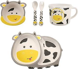 مجموعة أدوات طعام للأطفال من 5 قطع، مجموعة أطباق وأطباق الأطفال الصغار، مستلزمات تغذية الأطفال البيئية أدوات طعام الأطفال ...