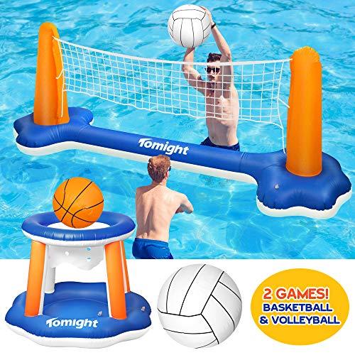 tomight Voleibol de Piscina Inflable Caja Fuerte Flotante, Juego de Voleibol Inflable para niños y Adultos, natación,Ideal para Verano Piscina y Fiesta Playa