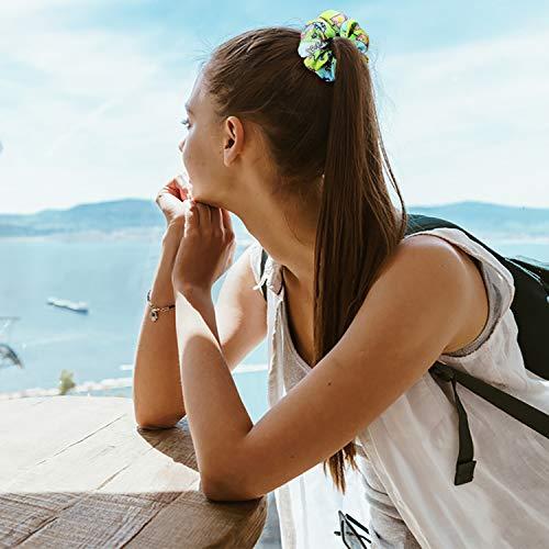 PANTIDE 18Pcs VSCO Scrunchies VSCO Starter Stuff Kit-Cute VSCO Pattern Designed Hair Scrunchies, Colorful Polyester Pongee Ponytail Holder, Elastic Hair Ties Ropes Accessories for Girls 6