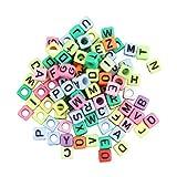 Kurphy 1 sacchetto / 100 pezzi 6 mm lettera lettera alfabetica per braccialetti Loom, braccialetto multicolore, senza colla, nessun confusione, ottima idea regalo