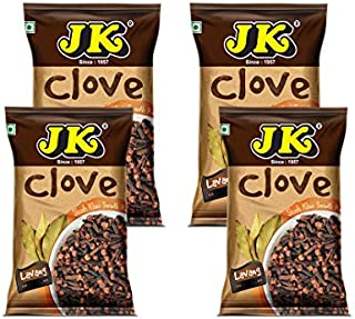 JK CLOVE WHOLE 3.53Oz, 100g (25g x 4 packs) (Lavang, Laung) 100% Pure and Natural, GMO & Gluten Free, No Added Essence, Color or Preservatives