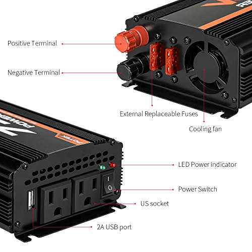 POTEK 750W Car Power Inverter DC 12 V to 110V AC Dual AC Charging Port / 2A USB Ports for Laptop, Smart Phone