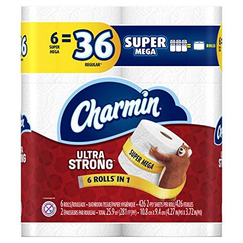 Charmin Ultra Strong Toilet Paper Super Mega Rolls, 6 Count