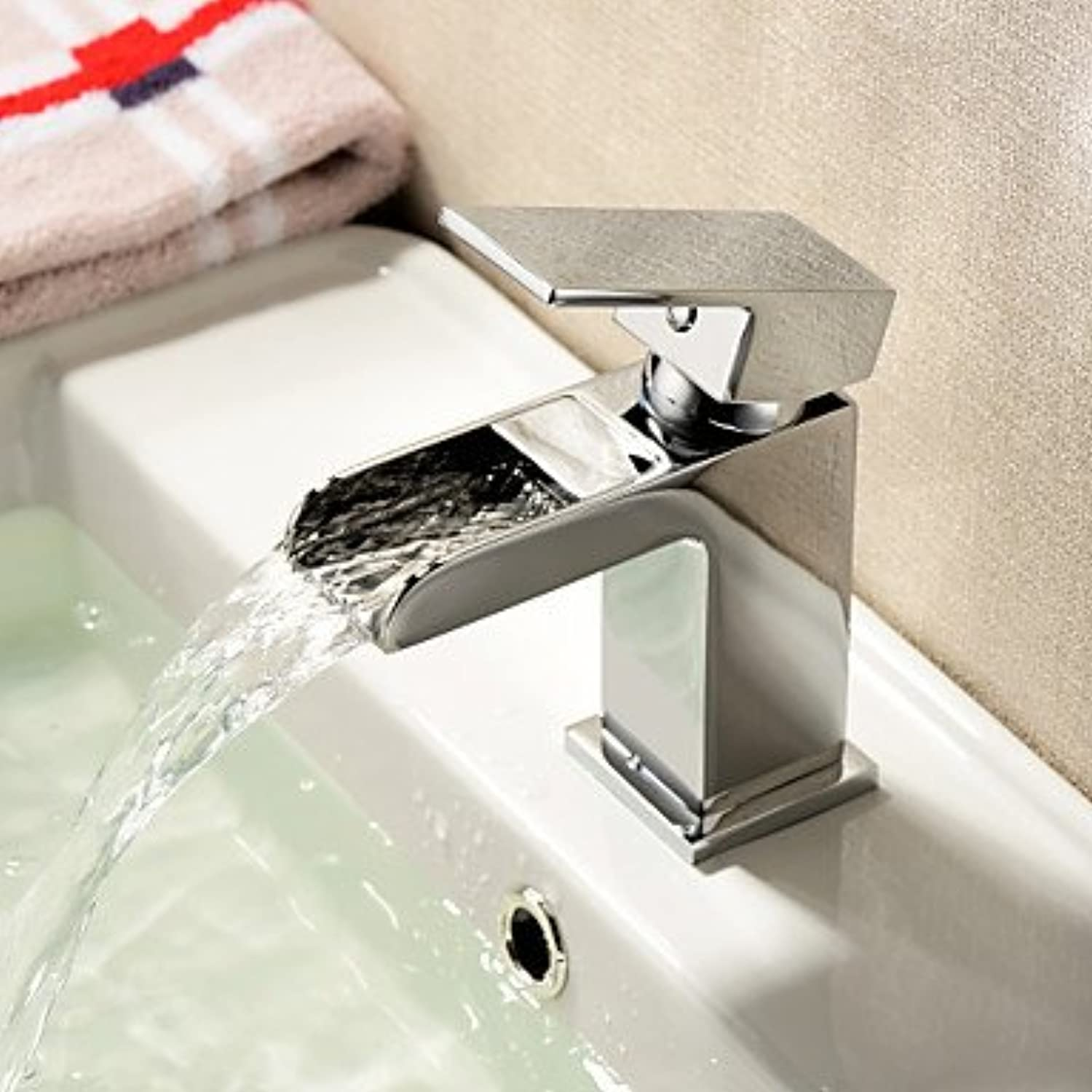 HMer Contemporary Waterfall Brass Sink tap - Chrome Finish