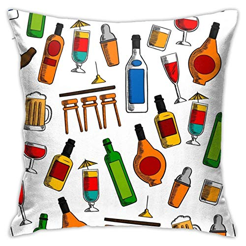 Cup Off Funda de Almohada de Dibujos Animados para Botella de Vino, Funda de Almohada para decoración del hogar, Funda de cojín para sofá, Dormitorio, Sala de Estar