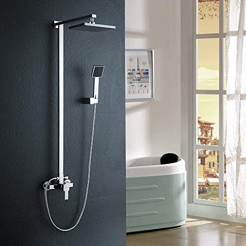 Auralum Duschset Duscharmatur Duschsystem Regenschaueraus 304 Edelstahl mit Verstellbar, Duschkopf 20 * 20CM mit Handbrause, Chrom