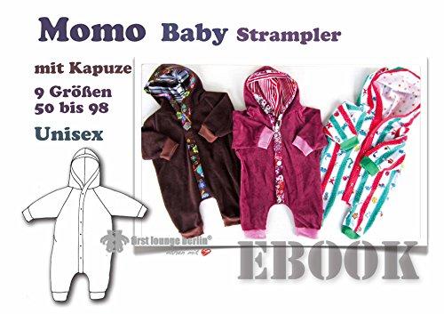 Momo Nähanleitung mit Schnittmuster PDF-Datei auf CD für Baby Strampelanzug Body Jumper mit Kapuze in 9 Größen von 50 bis 98