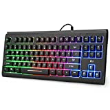 Rii RGB wired Gaming Keyboard ,Rainbow Mixed Backlit Keyboard with Mechanical-feeling for Gaming
