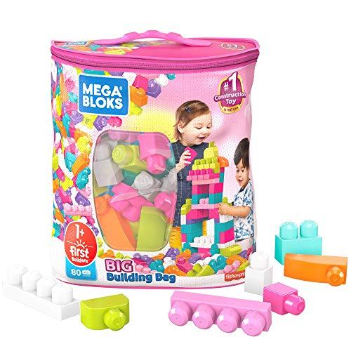 Mega Bloks DCH62 - Bausteinebeutel Groß mit 80 Bausteine, pinkfarben