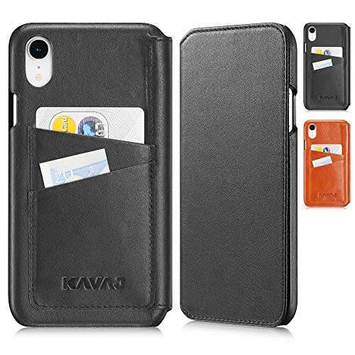 KAVAJ iPhone XR 6.1' Case Leather Dallas Black, Supports Wireless Charging (Qi), Slim-Fit Genuine Leather iPhone XR Wallet Case Leather Bumper Case with Business Card Holder Cover