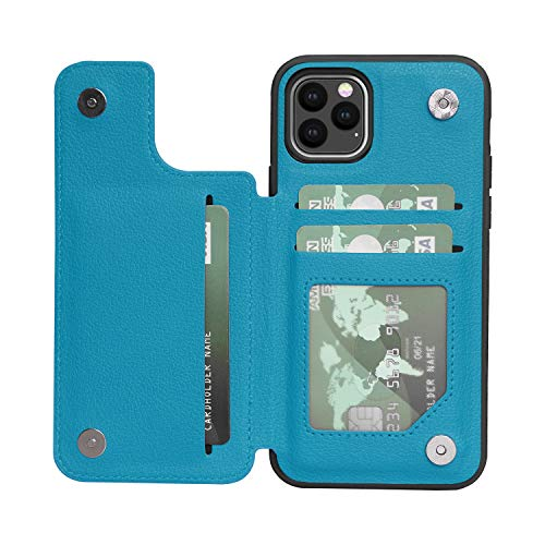 ACXLIFE iPhone 11 Pro Case 11Pro Wallet Credit Card Holder Case,Protective Cover with Card Slot Holder and Leather Case for iPhone 11Pro 5.8 Inch (Cyan)