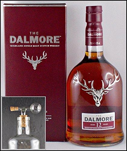 Dalmore 12 Jahre Single Malt Whisky mit einem Flaschenportionierer aus Echtglas, kostenloser Versand