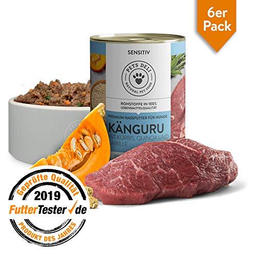 Hundefutter nass 2,4 kg - 6er-Pack | Premium-Qualität | Känguru mit Kürbis, Quinoa und Kamille | Nassfutter für Hunde mit 50% Fleischanteil, getreidefrei und frei von unnötigen Zusätzen