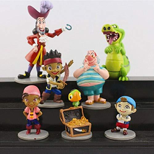 Modelo De Anime7 Unids/Lote Anime Cartoon Jake Y The Neverland Pirates PVC Figura De Acción Juguetes Modelo 5-10Cm