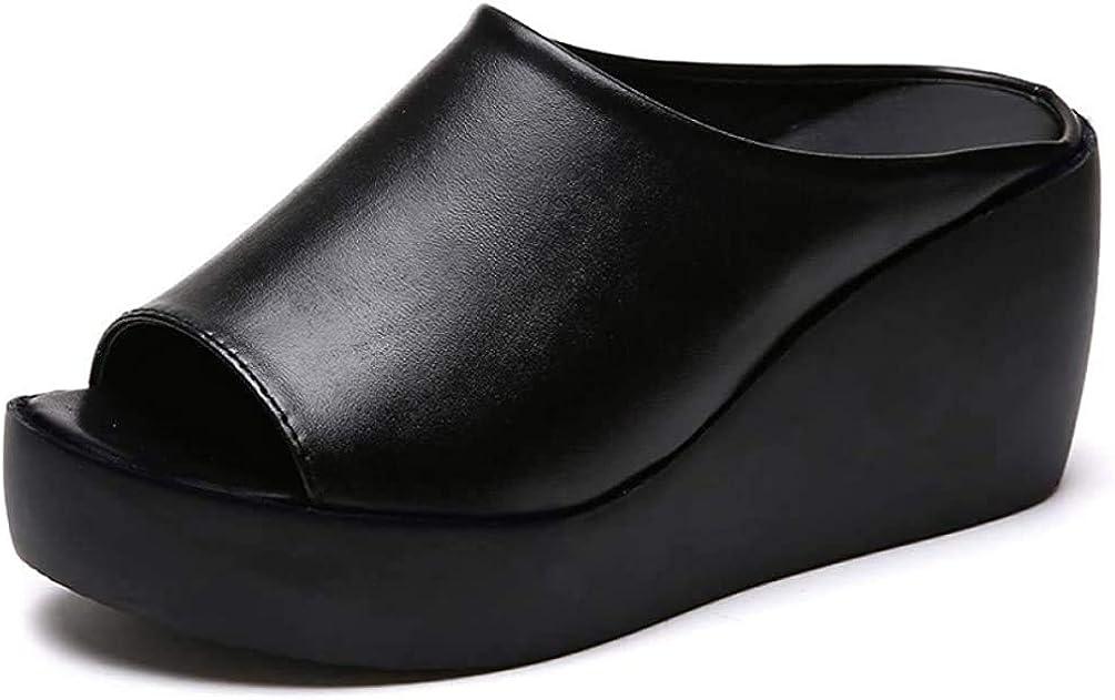 Women's Faux Leather Wedge Mule Sandal Breathable Outdoor Platform Slides Slipper Waterproof Slip-on Beach Sandals