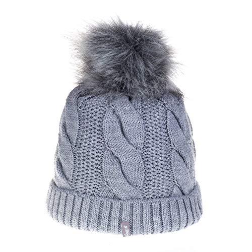 Avanti Konieczko Gorro de invierno para mujer con forro de microfibra, cálido gorro de punto con pelo o pompón de pelo natural gris Talla única