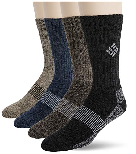 Columbia Men's 4 Pack Moisture Control Ribbed Crew, Assorted, Sock Size: 6 -12
