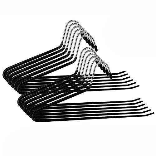 Benooa Perchas para Pantalones con Final Abierto 12 Perchas para Pantalones Recubrimiento de Goma Antideslizante Ahorro de Espacio Duradero de Metal Cromado Antioxidante para Jeans,Armario (Black01)