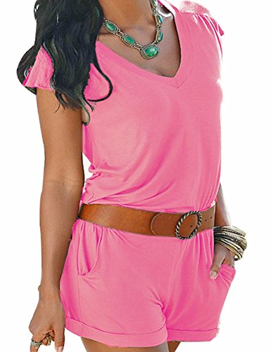 Sexyshine Women's Summer Beach V Neck Short Jumpsuits (XX-Large, Pink)
