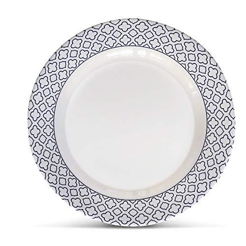 Bowla Melamine Salad Plates Set - Set of 6, indoor or ourdoor plates (9'-6 Piece Set, Bluegrass)