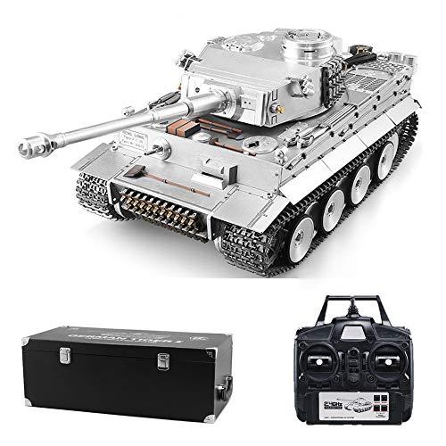 WEIFLY Oversized Alloy Tank, Remote Control Battle 1:16 Full Metal German Tiger I Metal Smoking Toy Model, Sandbox Chariot boy Gift