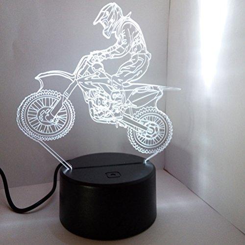 LEDMOMO - Lámpara de mesa 3D con luz de ambiente, lámpara de mesa con ilusión óptica 3D, lámpara de escritorio con interruptor táctil 7 colores (Moto)