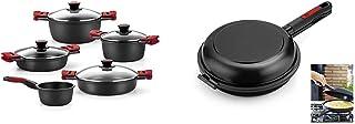 BRA Premiere - Batería 5 Piezas de Aluminio Fundido con Antiadherente + Dupla Premiere - Sartén Doble para Tortilla, Aluminio Fundido Antiadherente, diametro 24 cm, Incluye recetario de Regalo