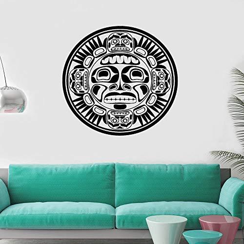 JXMK muursticker kunst kamer deco masker Indianen ornament vinyl muursticker decoratie accessoires voor woonkamer 59 x 57 cm